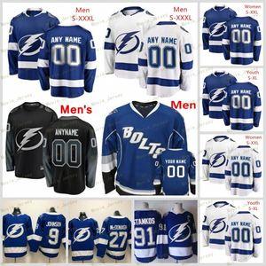 Costumbre Tampa Bay Lightning azul blanco Jersey Cualquier Número Nombre hombres mujeres jóvenes niño Negro Tercer Punto BOLTS Kucherov Stamkos 2 Lucas Schenn