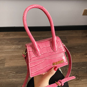 fashion show Bag Woman Fresh Messenger Small Square Package Hit the color bright Stone Grain Single Shoulder Handbag
