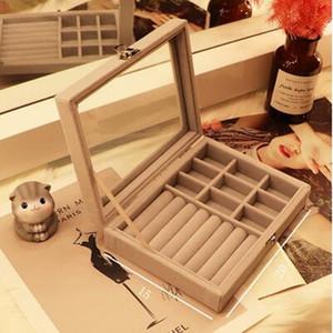 9+1 Grey 20*15*5cm Jewelry Packaging Display Stud Earring storage box Dust proof jewelry wood storage box ear clip line jewelry D098