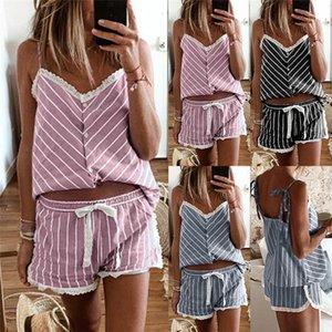 V Neck Casual Top Lace Up Shorts en vrac Famale concepteur de nuit Femmes Striped Pajamas jarretelle Set Sexy