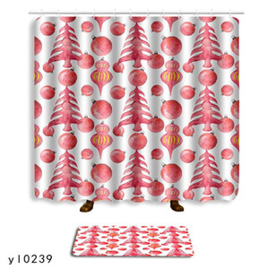 Modern Bathroom Shower Curtain Floor Mat Combination Set Geometric Abstract Printing Shower Curtain Floor Mat Quick-Drying 180*180CM