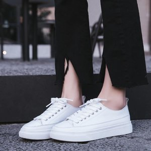 Little White Shoes Women Korean Thick-bottomed Shoes Wild Breathable Round Head Flat Bottom Lace-up Sports Casual Board