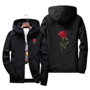 JOOBOX Nakış Gül Çiçek rüzgarlık Ceket erkek Kapşonlu ceketin bir Cilt Erkek ceketler jaqueta masculina Büyük Beden S M 7XL T200103