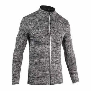 Collants sport masculin réfléchissants séchage rapide zipper veste à manches longues sueur qui Survêtement basket automne col rond et l'hiver