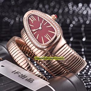 8 Farbe Günstige Luxry New Serpenti Tubogas 101911 SP35C6SS.2T Red Dial Roségold Schweizer Quarz Damenuhren Armband-Uhr-Qualität