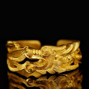 Çin Mit Ejderha Açılış Halka Antika Erkekler Kadınlar Takı Doğum Noel Hediye Altın Renk Lucky Dragon Halkalar