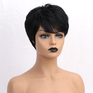 Kurze Perücken 100% real Menschenhaar-Perücken natürlich aussehende für schwarze Frauen - Perfekt für Cosplay Partei der täglichen Gebrauch