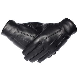 Gours зимние перчатки мужчины натуральные кожаные перчатки сенсорный экран настоящие овчины черные теплые вождения перчатки варежки новое прибытие GSM050 T190618