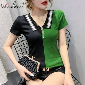 Summer Korean Clothes T-shirt Fashion Contrast Color Diamonds Women Tops Ropa Mujer All Match Bottoming Shirt Tees 2020 T06507