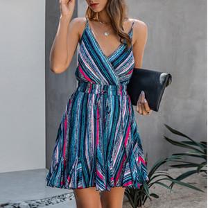 Renkli Çizgili Baskı Backless Kadınlar Elbise Seksi Sling V-Yaka Kolsuz fırfır Mini Elbise Yaz Casual Lace Up Plaj Elbise