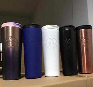 La nueva manera de Starbucks taza de lavanda en polvo púrpura de la pendiente taza de café diosa de acero inoxidable que acompaña a la taza par LLY