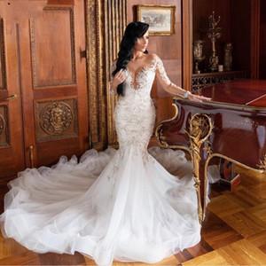 현대 인어 레이스 웨딩 드레스 환상 긴팔 티셔츠 vestido 드 noiva 레이스 아플리케 슬림 정장 신부 드레스 플러스 사이즈