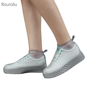 Rouroliu Nouveau Chaussures housses imperméables en silicone unisexe chaussures protecteurs réutilisables antidérapantes pluie à l'extérieur Bottes