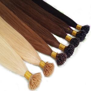 Brazilian I Tip Hair Extension Keratin Fusion Menschenhaar-Verlängerung 100 Strands / bag 20 Farben zur Auswahl 12-24inch Factory Direct
