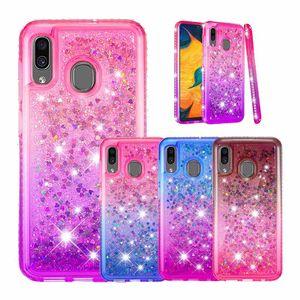 Cubra bonito para Samsung Galaxy A20 A30 M10 Glitter Quicksand Líquido Bumper Case for Samsung Galaxy S10 mais S10e A6 mais