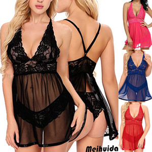 Womens Lingerie erótica Hot Lace Babydolls Nightdress Ladies Underwear Thong Nightwear G-String 2pcs Nightgown