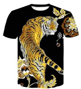 Nueva tigre camiseta de los hombres del animado camiseta de impresión en 3D de China camiseta de Hip Hop refresque la camiseta para hombre de la ropa nueva de verano del tamaño grande Top