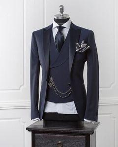 Blazer de hombre azul marino Traje de hombre moderno de negocios con pantalones Trajes de boda ajustados para hombres Chaqueta formal de baile Traje de esmoquin personalizado 3 piezas