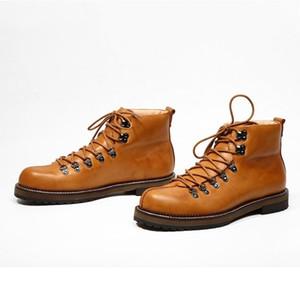 Ретро Безопасность труда Обувь Мужчины Повседневная Узелок Платформа High Top сапоги ручной работы Vintage из натуральной кожи сапоги лодыжки обувь