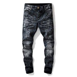 Совершенно новые мужские дизайнерские джинсы Мода синие и черные вымытые рваные джинсы уличные брюки стилевые мужские