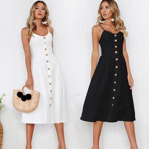 Marchwind Marque Designer Mode Femmes Sexy Femmes Sans manches Robe Noir Blanc Casual Spaghetti Strap Robes Bouton Midi Sundress