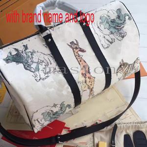 2019 hommes de qualité supérieure mono gramme animaux blanc girafe keepall 45 emballages de voyage sac des bagages sac de marin avec sangle de verrouillage