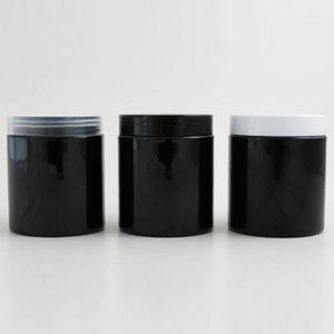 24 x 250g Negro vacío cosmético Crema Crema Contenedores tarros de 250 ml de 250cc de cosméticos Embalaje Botellas de plástico con tapa de plástico