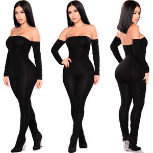 Moda feminina Bodycon Jumpsuit Romper Playsuit Partido manga comprida Alças Skinny calças compridas Moda Feminina