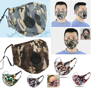 Print Cotton Camouflage Mask Washable Face Mask Valved Prevent Anti Dust PM 2.5 Respirator Mouth Masks Reusable Masks Retail Pack HH9-3059