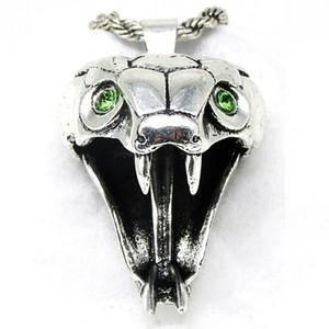 Мастер школы гадюки ожерелье 40 * 25мм серебристый цвет светло-зеленый кристалл дикое животное змея голова Медальон цепи ожерелье
