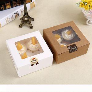 Ein 16x16x7.5cm Cavity Clear Window Kreative Kraft Braun Weiß Kuchen-Kästen Muffin Verpackung Box LZ0745