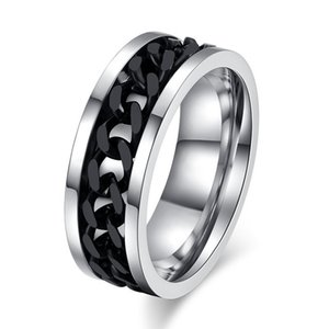 2020 New Gold Silver Color Stainless Steel Rotatable Punk Vintage Ring for Men High Quality Spinner Chain Ring Jewelry
