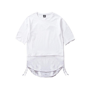 Mens T-shirt do pescoço de grupo Painéis Curto Tees Casual soltas Mens Tees verão Cor Pure
