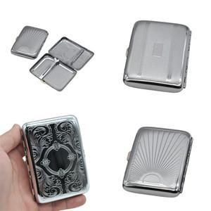 Silbrige Metall Zigarettenetui Deckel öffnen Container Oberflächenlinien Cases Zuverlässige Qualität Starke Haushalt Kunterbunt innere Karte Streifen 5 5XB E2