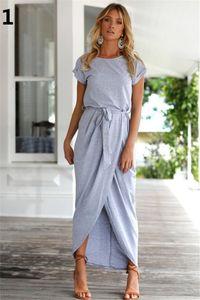 Femmes Robe Printemps De Mode Élégante Robe Plus La Taille Des Vêtements Pour Femmes Casual À Manches Courtes O-Cou Bleu Robes Lâche Split Irrégulière Robe