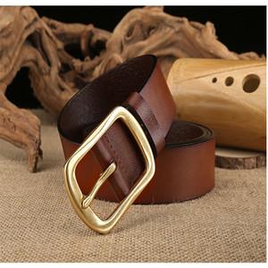 High quality vintage leather brass buckle belt for men belt fashion luxury designer belt free shipping