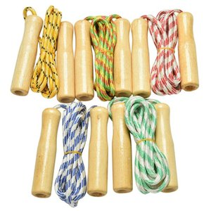 Random Color Kids Child Skipping Rope Wooden Handle Jump Play Sport Exercise Workout Toy
