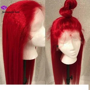 New #613 Blue Red Pink Purple Yellow Colorful Brazilian Straight lace front wig Pre Plucked Lace Frontal synthetic hair wig for women