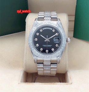 Aço inoxidável Boutique Relógio de prata Diamond Watch dupla Calendário Homens de Moda de Top Automático Mecânica Sports Watch