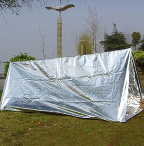 Emergency Shelter PET Film Tent 240*150cm Waterproof Sliver Mylar Thermal Survival Shelter Easy To Carry Camping Tents Shade GGA3387-2