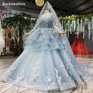 Light Blue Ball Gown 2020 Quinceanera Dress Long Sleeve Ball Gown Sweet 16 Dress Appliques Evening Dresses Prom Dresses Vestidos