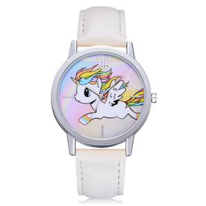 Mode Kwaii Cute Unicorn-Muster-Frauen-Quarz-Uhr Schulart- Mädchen Uhr Kleid-Armband-Armbanduhr Femme Uhr Relojes Para Mujer