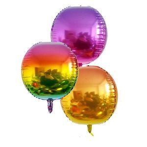 24 zoll 4D gradienten folienballon runde aluminiumfolie ballon regenbogen luftballons kind spielzeug baby shower geburtstag hochzeit dekoration vt0251