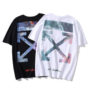 2020SS spring and summer new OFF 20SS WHITE volcanic sea oil painting arrow print men's casual short-sleeved T-shirt