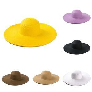YJA-82 Corea del estilo de paja caramelo casquillo cornisa de playa del sol grandes aleros de las mujeres de color caramelo sombrero sombrero de paja grande