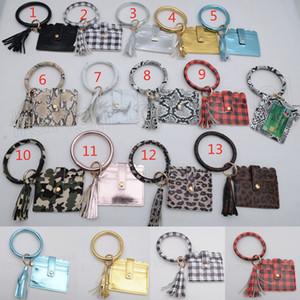 PU de las borlas de la pulsera de la tarjeta de crédito del bolso de tela escocesa anillo del sostenedor ranuras carpetas de las mujeres Monedero Con Clave llavero caja de la foto Bolsas FFA3760