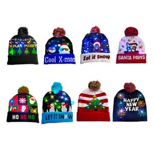 1PCS exterior Desporto Correndo Natal Malha Chapéus bonito LED Light-up Xmas Knit Beanie Adultos Caps