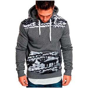 2019 hot new gym Men's wear new fashion cap, leisure and self-cultivation suit, Plush sweater hoodie Printed Christmas Deer