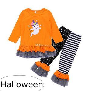 ins halloween new 2018 girls orange fantasma print ruffle dress kids a righe AB PP Pants 2pc set shinning star shuffing pantaloni 2-7years