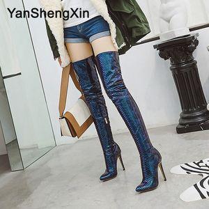 Personnalisable Taille Plus de la chaussure Knee Bottes femme en cuir verni serpent Bottes sexy Talons 11.5CM Mesdames bottillons Bottes Cavalières